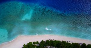 V08715 maldives tropical island and blue sea with drone aerial flying view on a beach with white sand and beautiful sky. Maldives tropical island and blue sea stock footage