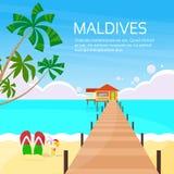 Maldives Tropical Island Long Pier Summer Vacation. Paradise Ocean Flat Vector Illustration Royalty Free Stock Photography