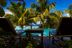 Maldives, tropical paradise, lying by the pool Stock Photography