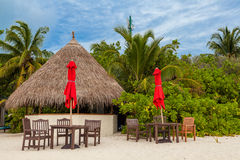 Maldives, tropical paradise, small bar on the beach Stock Images