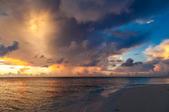 Maldives, tropical paradise, sunrise on the beach Stock Image