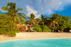 Maldives, tropical paradise, villas by the beach Royalty Free Stock Images