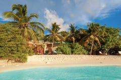 Maldives, tropical paradise, villas by the beach Royalty Free Stock Photo