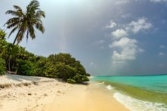 Maldives sandy beach cristal water landscape Royalty Free Stock Photos