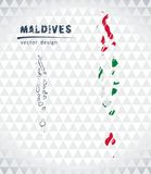 Maldives vector map with flag inside isolated on a white background. Sketch chalk hand drawn illustration. Vector sketch map of Maldives with flag, hand drawn Royalty Free Stock Photography