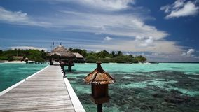 Maldives, view from the bridge to the island stock video
