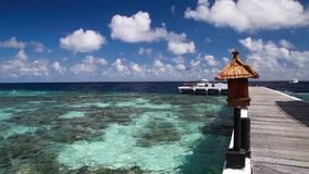 Maldives, view from the bridge to the ocean, a speedboat leaving the island stock footage