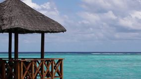 Maldives, view over the ocean from a water villa stock footage