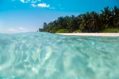 Maldives, view from the water to the island with palm beach and the blue sky Stock Photos