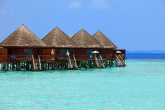 Maldives. Villa on piles on water Royalty Free Stock Images