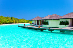 Maldives. Villa on piles on water Royalty Free Stock Photography