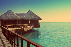 Maldives. Villa on piles on water Stock Images