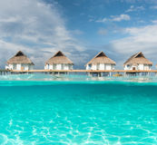 Maldives water bungalow. And half water photography royalty free stock photos