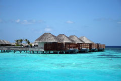 Maldives: water bungalow in the ocean Royalty Free Stock Photos