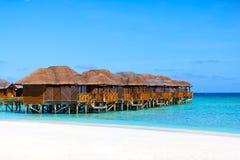 Maldives, water bungalows on beach. Maldives, water bungalows on the beach stock photo