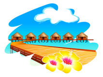 Maldives water houses. Wooden footbridge to Maldives water houses with hibiscus flowers Stock Photo