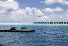 Maldives Waterplane Jetty Royalty Free Stock Photography