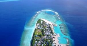 V11638 maldives white sand beach tropical islands with drone aerial flying birds eye view with aqua blue sea water and Stock Images