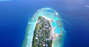 V11724 maldives white sand beach tropical islands with drone aerial flying birds eye view with aqua blue sea water and Stock Image