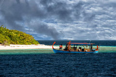 Maldives white sand paradise beach landscape view Stock Photo