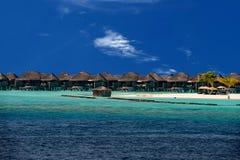 Maldives white sand paradise resort beach view Royalty Free Stock Photos