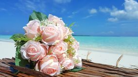 P00708 Maldives white sandy beach pink bouquet flowers on sunny tropical paradise island with aqua blue sky sea ocean 4k. Maldives white sandy beach pink bouquet Royalty Free Stock Images