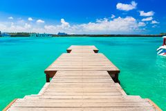 Maldives, wood bridge Royalty Free Stock Photo