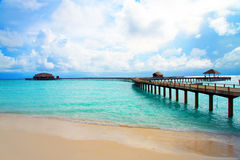 Maldives. A wooden road over ocean Royalty Free Stock Image