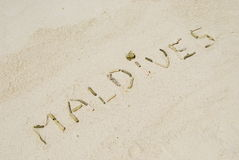 Maldives written in a beach Stock Photo