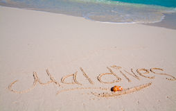Maldives written on sand Stock Photography
