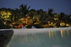 Maldives wyspy plaża nigh przegląda Zdjęcie Stock