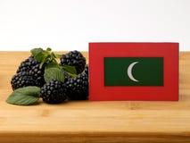 Maldives zaznaczają na drewnianym panelu z czernicami odizolowywać na a fotografia royalty free