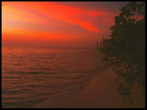 Maldives zmierzchu wyspy plaża Zdjęcie Stock