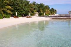 Maldivian beach, Ari Atoll. Maafushivaru island white beach, Ari Atoll, Maldives Stock Photo