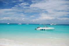 Maldivian boats. Boats anchored off Maldives on clean blue water royalty free stock photography