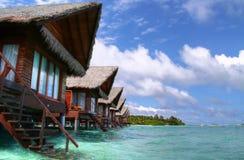 Maldivian bungalows. Ocean view - Hudhuranfushi island - Maldives Stock Photo