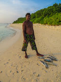 Maldivian fisherman proud with his catches Royalty Free Stock Images