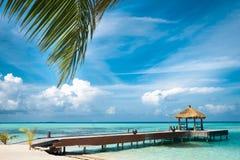 Maldivian house on a tropical island Royalty Free Stock Photos