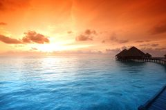 Maldivian houses on sunrise Royalty Free Stock Image