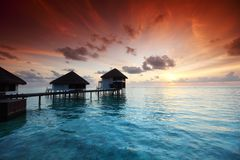 Maldivian houses on sunrise Royalty Free Stock Images