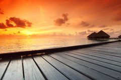 Maldivian houses on sunrise Stock Images