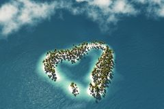 Maldivian island in the shape of heart royalty free illustration