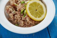 Maldivian  Mas huni. Mas huni - typical Maldivian breakfast, composed of tuna, onion, coconut, and chili Stock Photo