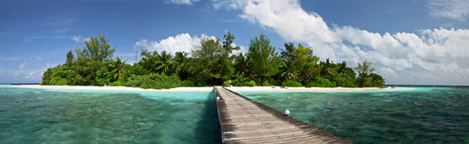 Maldivian panorama. Tropical island landscape with ble sea and coconut palms in a sunny day Royalty Free Stock Photography