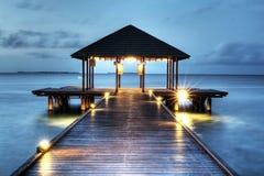 maldivian pir Fotografering för Bildbyråer