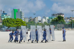 Maldivian policemen training to supress strikes. Male.Maldives Royalty Free Stock Images