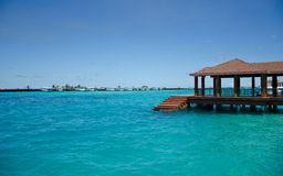 Maldivian port jetty on Male island. Jetty on Male island, Maldive royalty free stock photos