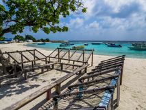 Maldivian public deckchairs Royalty Free Stock Images