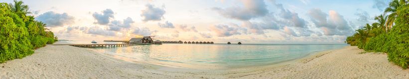 Maldivian sunrise panorama Stock Photography