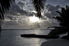 Maldivian sunset. NSunset on an island in the Indian Ocean Stock Images